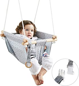HAPPY PIE PLAY&ADVENTURE Secure Canvas Hanging Swing Seat Indoor Outdoor Hammock Toy for Toddler (Grey)