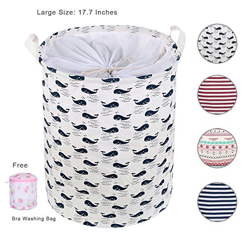 AOWIN Laundry Basket For Dorm, Collapsible Waterproof Dirty Clothes Hamper with Large Size 13.7 x 17.7inches for Home, Office, Closet, Bedrooms, Bathrooms, College Dorm (blue(17.7)) - Baby Clothes Hamper