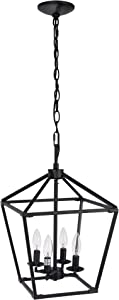 Untrammelife 4-Ligh Black Lantern Pendant Light, Adjustable Height Square Cage Pendant Hanging Lighting Fixture 11'' Rustic Lantern Chandelier for Dinning Room Kitchen Island Foyer