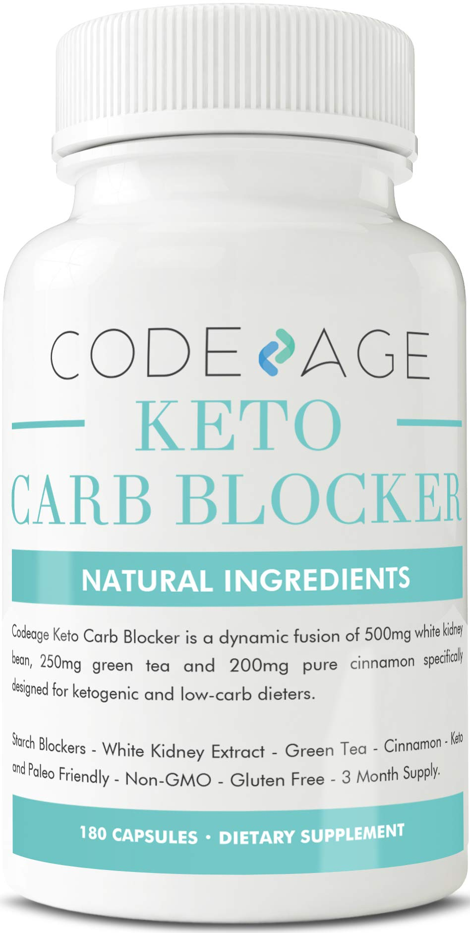 Codeage Keto Carb Blocker Capsules, Nutritional Ketosis with White Kidney Bean Extract, Green Tea Extract, Pure Cinnamon, 180 Capsules by Codeage