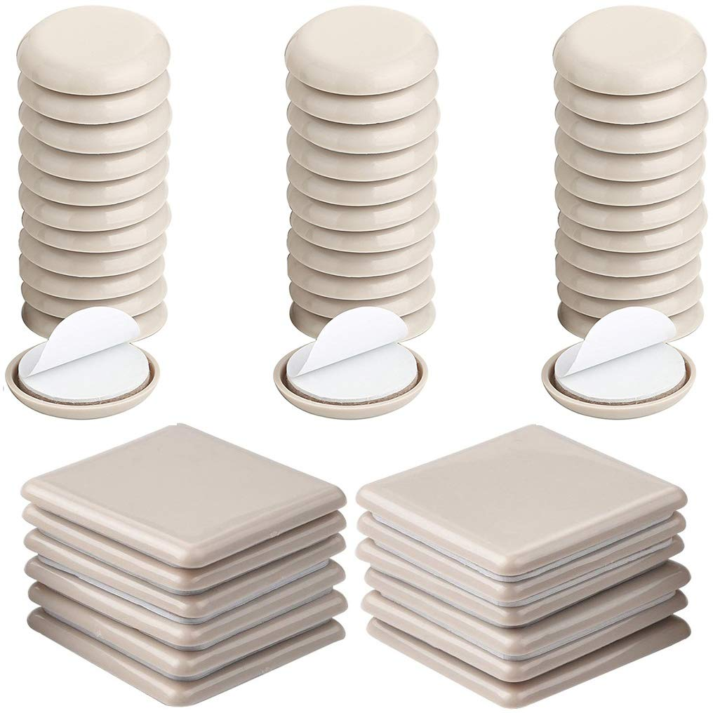 Liyic 48 Combo Pack Self-Stick Furniture Sliders for Carpet,12PCS 2.5in.Square Self Adhesive Furniture Mover Glides & 36PCS 1in. Furniture Moving Pads Furniture Glider Carpet Slider Floor Sliders