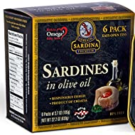 Premium Sardines in Extra Virgin Olive Oil, 3.7 oz Tin (Pack of 6)