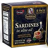 Premium Sardines in Extra Virgin Olive Oil, 3.7 oz Tin (Pack of 6)