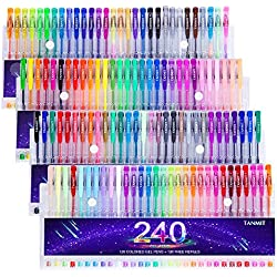 Tanmit 240 Gel Pens Set for Adults Coloring Books Drawing Art Markers, 120 Colored Gel Pens(No Duplicates) plus 120 Refills
