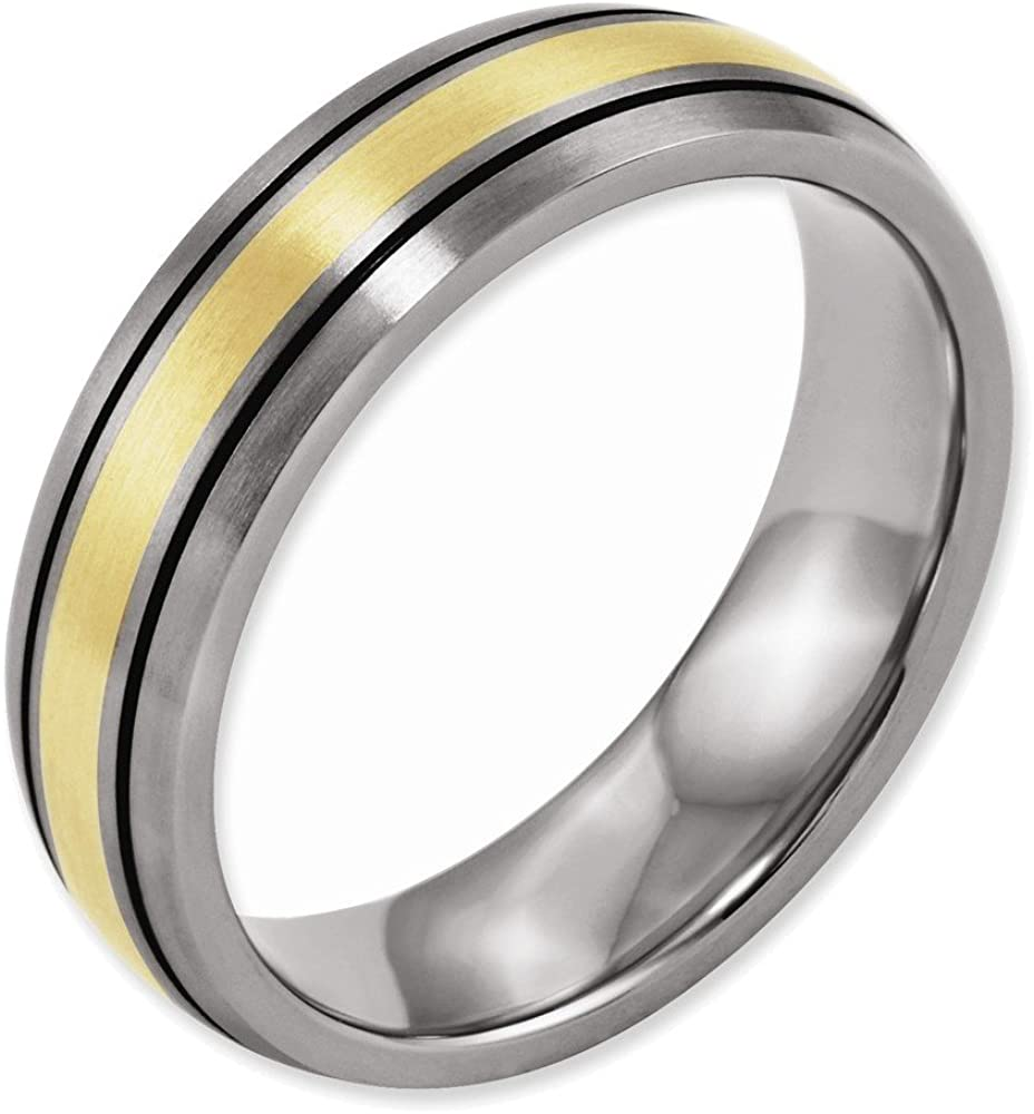 Titanium Grooved Edge Sterling Silver Inlay 8mm Brushed//polished Band Best Quality Free Gift Box