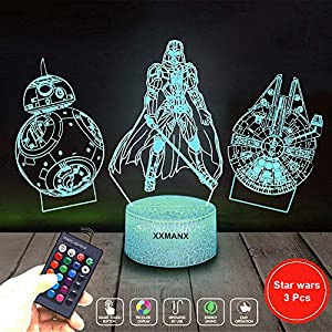 3D Night Light for Boys,3 Pattern 16 Colors Changing Kids Night Light with Remote & Smart Touch for Gifts Boys Star Wars Fans (Remote Control)
