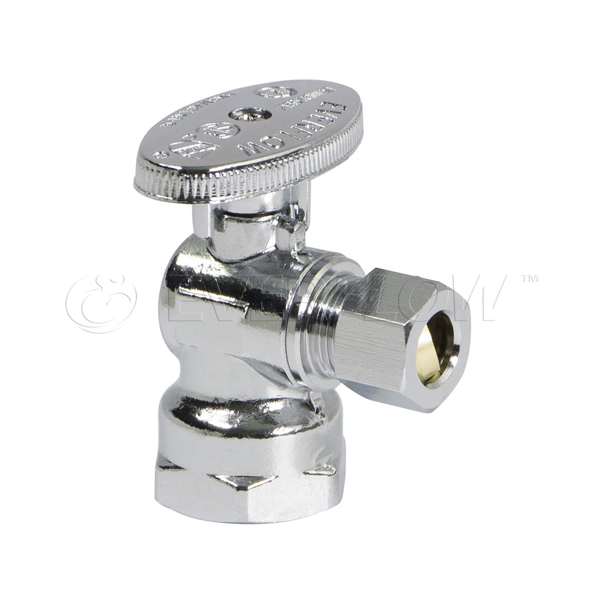 Everflow Supplies 81112PR-NL Premium Lead Free 1/2-Inch FIP x 3/8-Inch OD Compression Quarter Turn Angel Stop Valve