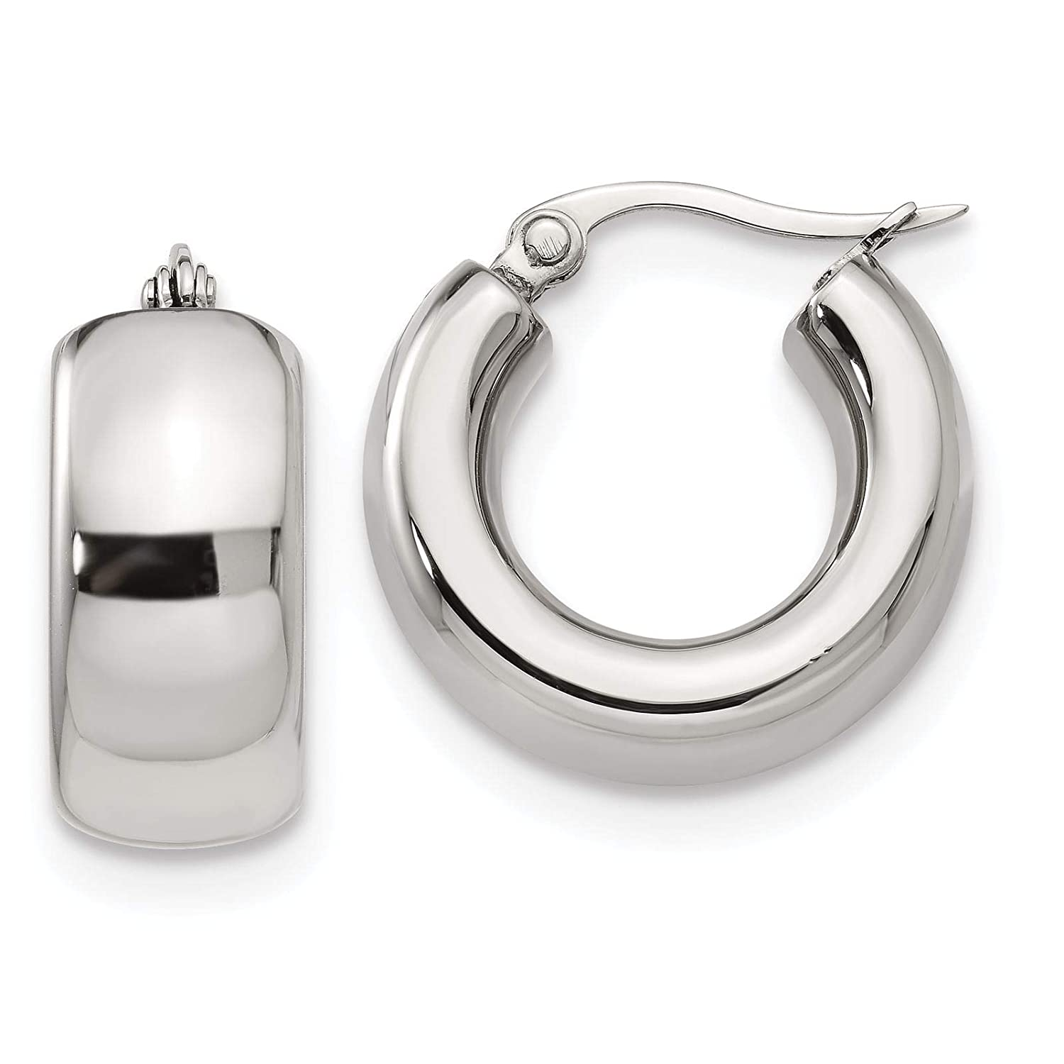 Stainless Steel Polished Round Huggie Hoop Earrings 9mm x 21mm