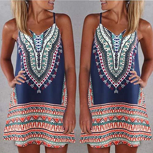 Women Summer Casual T Shirt Dresses Elegant Spaghetti Straps Patterned V Neck Sleeveless A-Line Mini Sundress Blue by SSYUNO summer (Image #1)