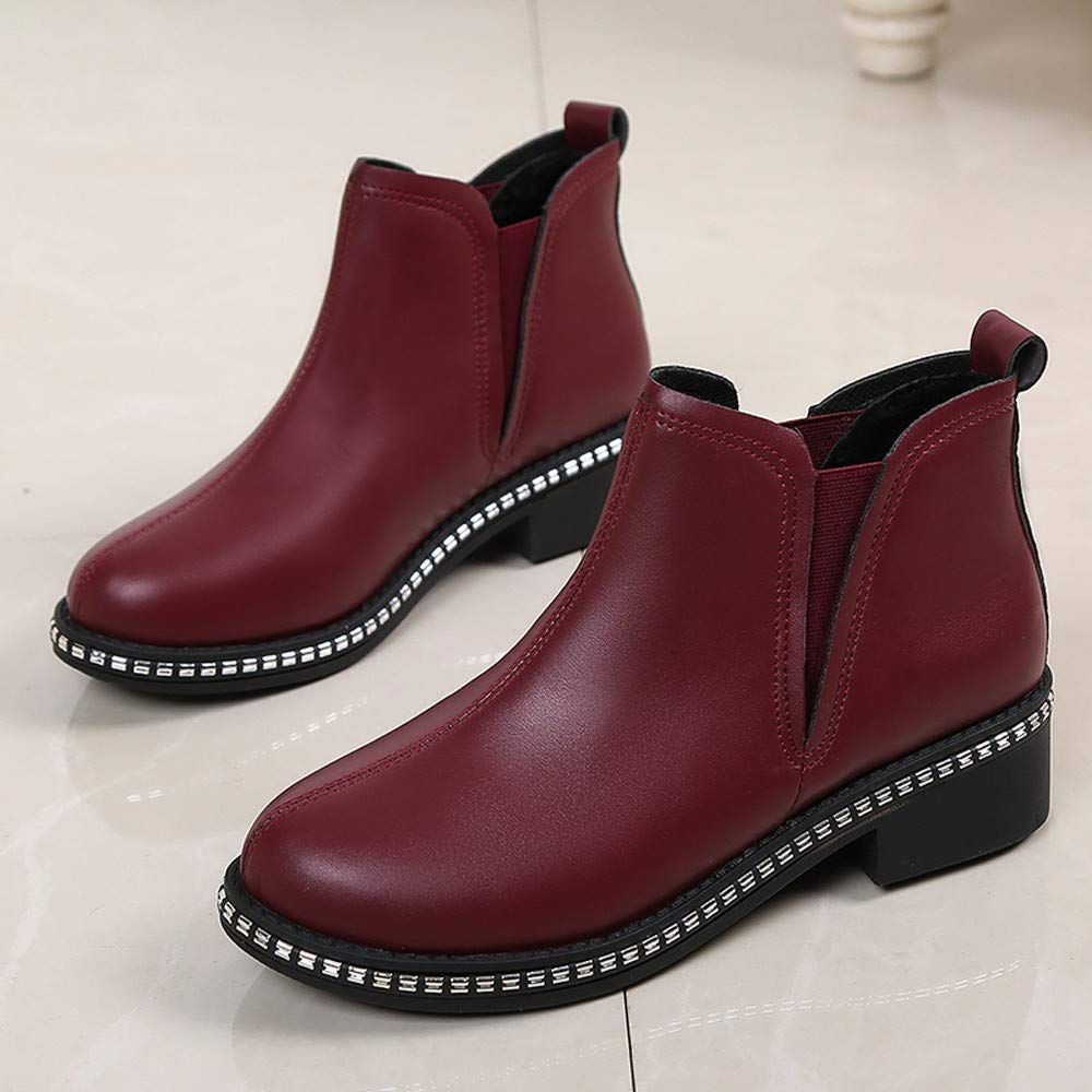 Qiusa Qiusa Qiusa Frauen Platz Ferse Schuhe Martain Stiefel Leder Slip-On Volltonfarbe Runde Zehe Schuhe (Farbe   Rot Größe   5 UK) b39dab