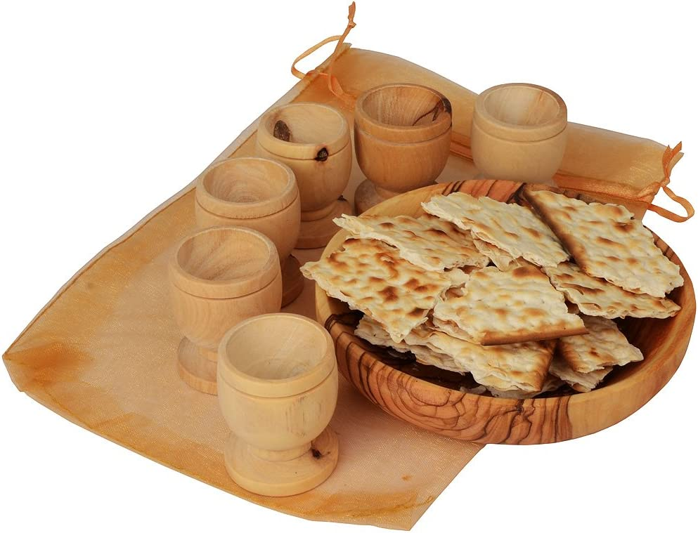 Communion Cups Set- The Lord's Supper - Olive Wood Bread (Approx 4 Inch) Tray with Six Small (Approx 1.5 Inch) Olive Wood Cups in Gift Bag
