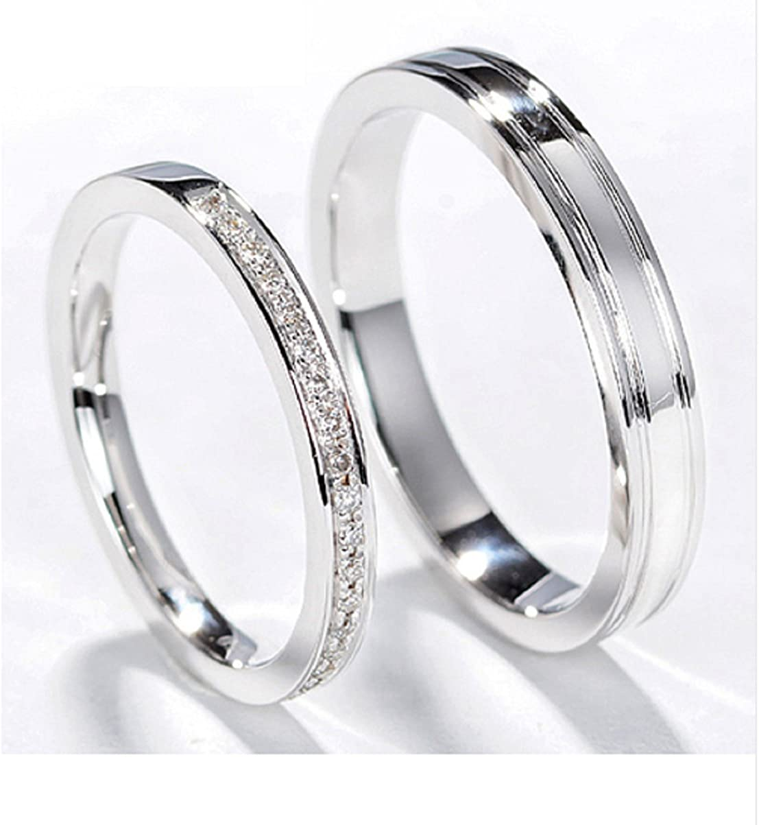 Amazon Com Gowe Classic Natural Diamond Couple Rings Men Women Wedding Ring 18k White Gold Jewelry