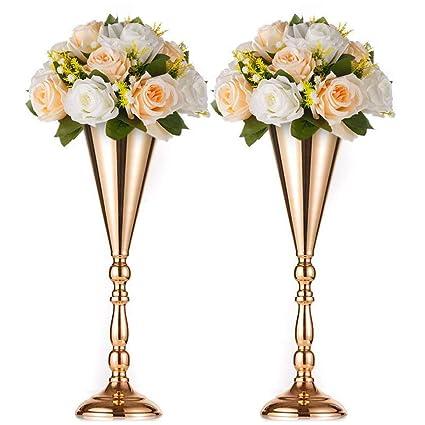 f3e3fd7e302 Sfeexun 2 Pcs/Set Tabletop Metal Wedding Flower Trumpet Vase Table  Decorative Centerpiece Artificial Flower