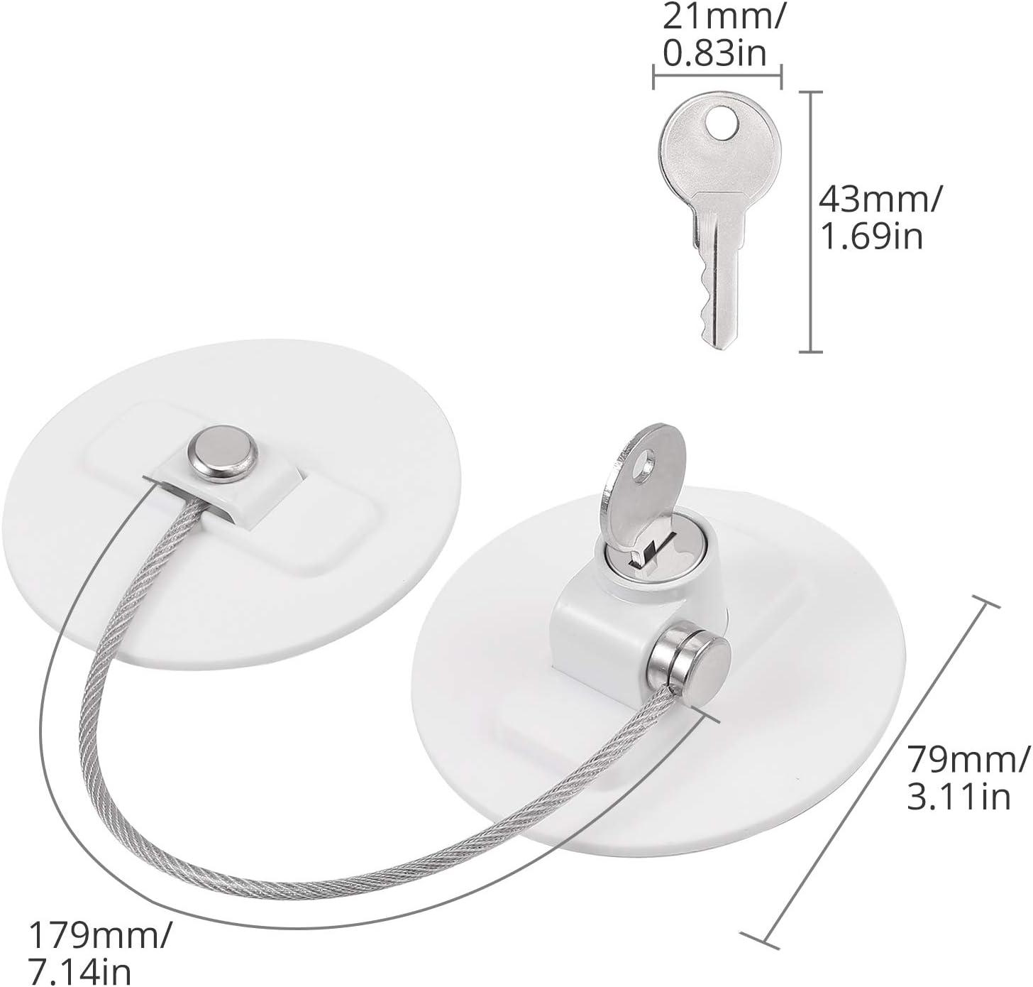 4 Piezas de Seguridad para Ni/ños Color Blanco Caj/ón CAMWAY Armario con Cerradura para Puerta de Frigor/ífico Herramientas de 20 cm con 8 Llaves