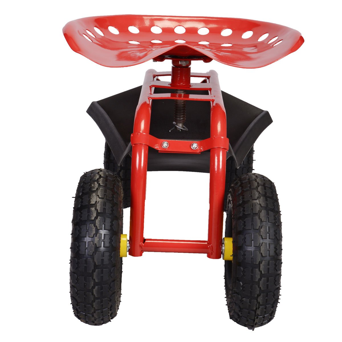 FDS Rolling Garden Cart Work Seat With Heavy Duty Tool Tray Gardening  Planting /(Red/)
