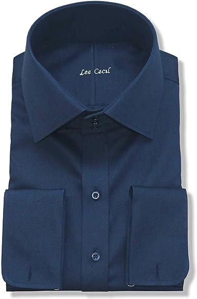 WhitePilotShirts Hombre Alto Difusión Cuello Camisa Vintage Azul Marino 100% Algodón Grande Alto Cuello para Hombre Nuevo: Amazon.es: Ropa y accesorios
