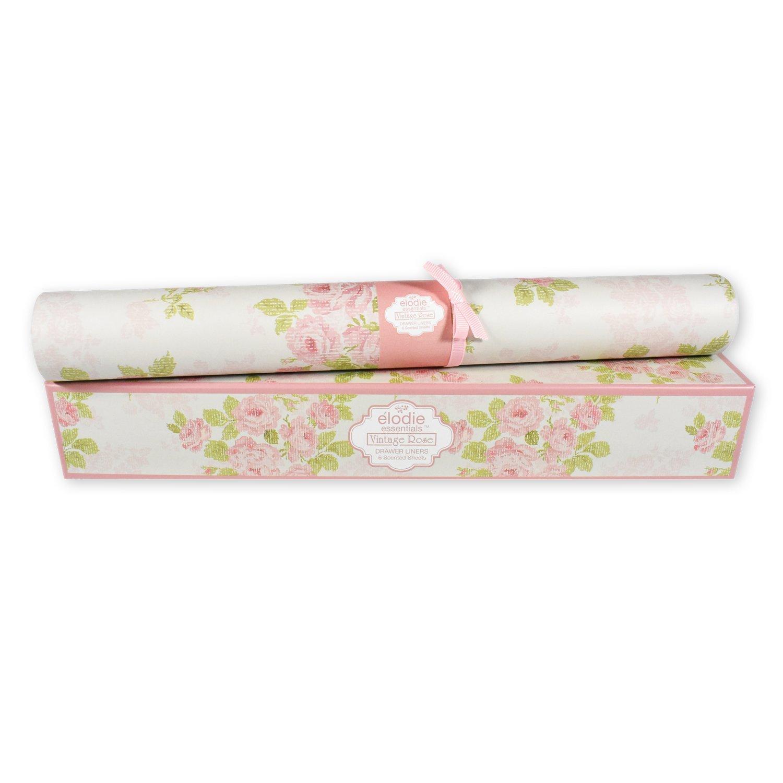Elodie Essentials Scented Drawer Liners for Dresser and Closets - 6 Freshening Liner Paper Sheets (Vintage Rose)