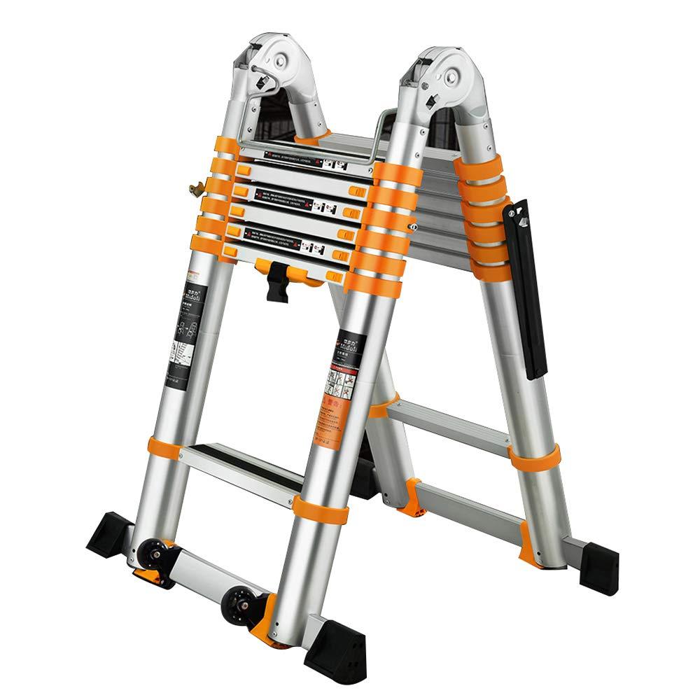 ZR 折り畳み梯子, ヘリンボーンのはしご、多目的な2.3-5.5MアルミニウムポータブルテレスコピックラダーDIY拡張可能なAフレームラダー拡張ステップ150KG アウトドア伸縮はしご (サイズ さいず : Herringbone ladder-3.9m) B07L24GST5  Herringbone ladder-3.9m