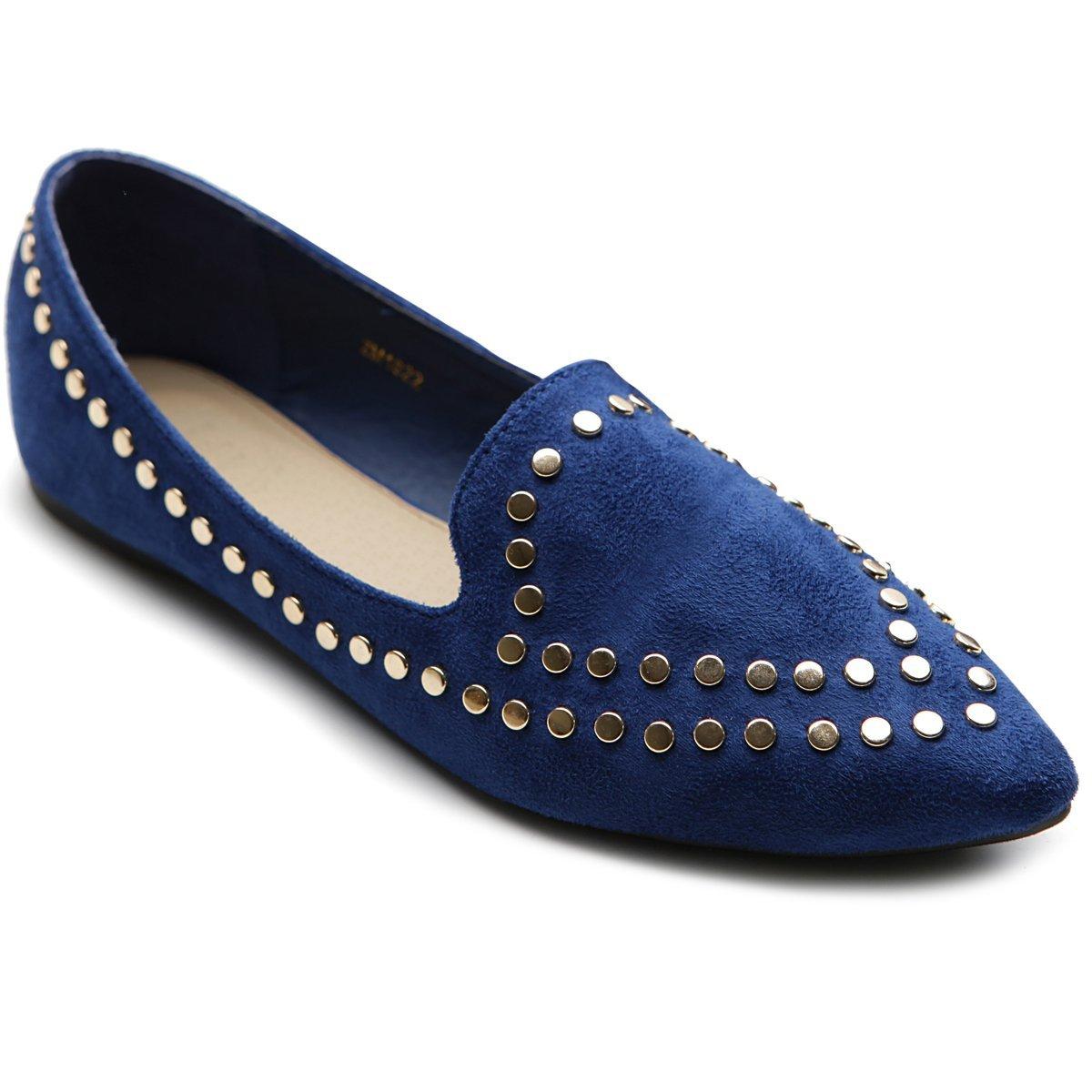 Ollio Women's Ballet Shoe Comfort Faux-Suede Studded Flat(5.5 B(M) US, Burgundy) B00HDOTFCA 6 B(M) US|Royal Blue