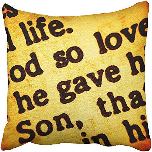 Throw Pillow Cover Polyester 18X18 Inches Close Up View On Part Biblical Text from The Bible Gospel John Chapter 3 Verse 16 Decorative Cushion Pillow Case Square Two Sides Print Home (Gospel Of John Chapter 3 Verse 16)