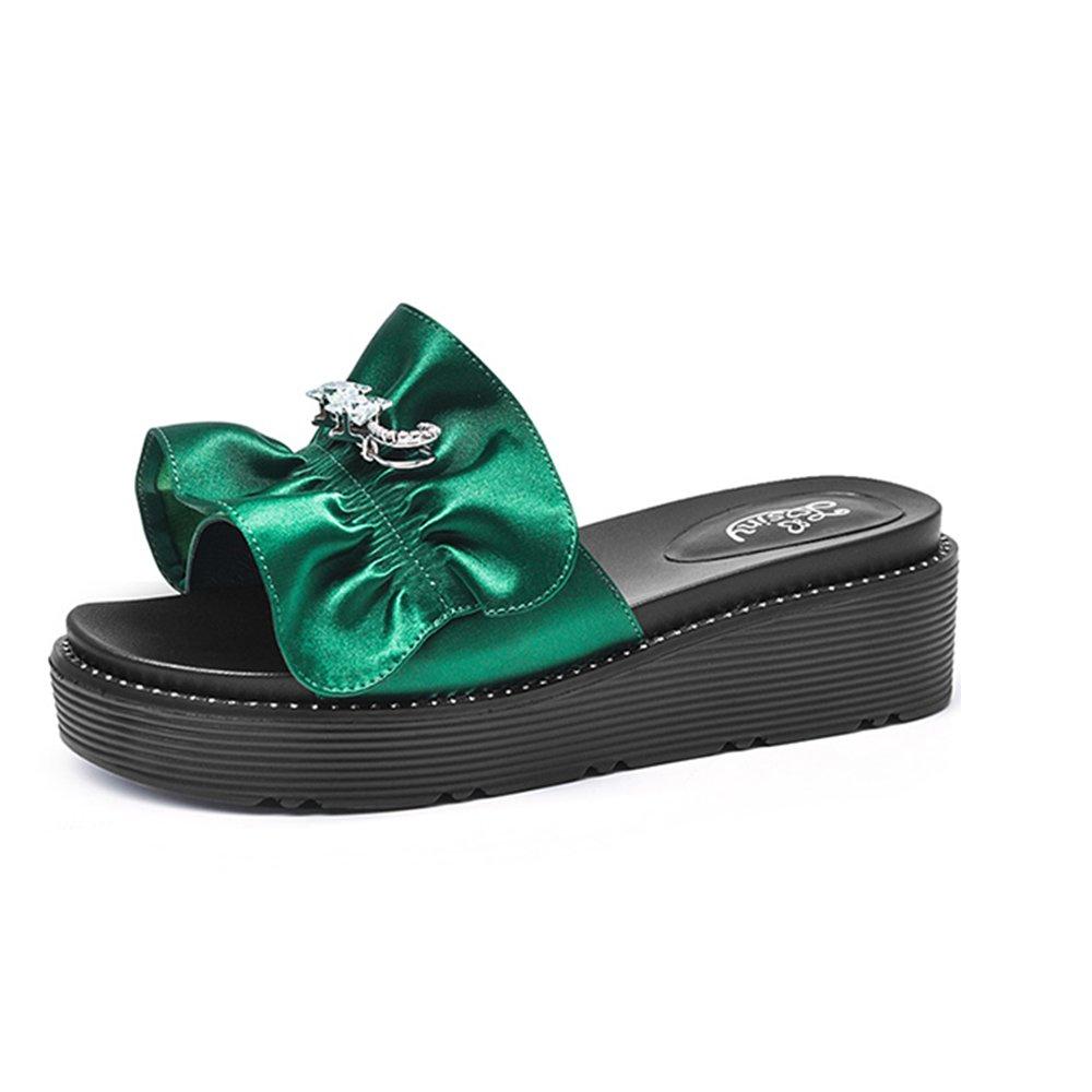 ZHIRONG Verano de las mujeres gruesas sandalias de fondo abierto Rhinestone del dedo del pie aumento del cordón Zapatillas zapatillas de playa 5.5CM verde negro ( Color : Verde , Tamaño : EU36/UK4/CN36 ) EU36/UK4/CN36|Verde