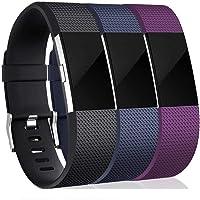 Polsband voor Fitbit, sportieve horlogeband, verstelbare sportvervangende polsband, polsband voor Fitbit Charge 2, 3-pack (S), siliconen - zwart/blauw/paars