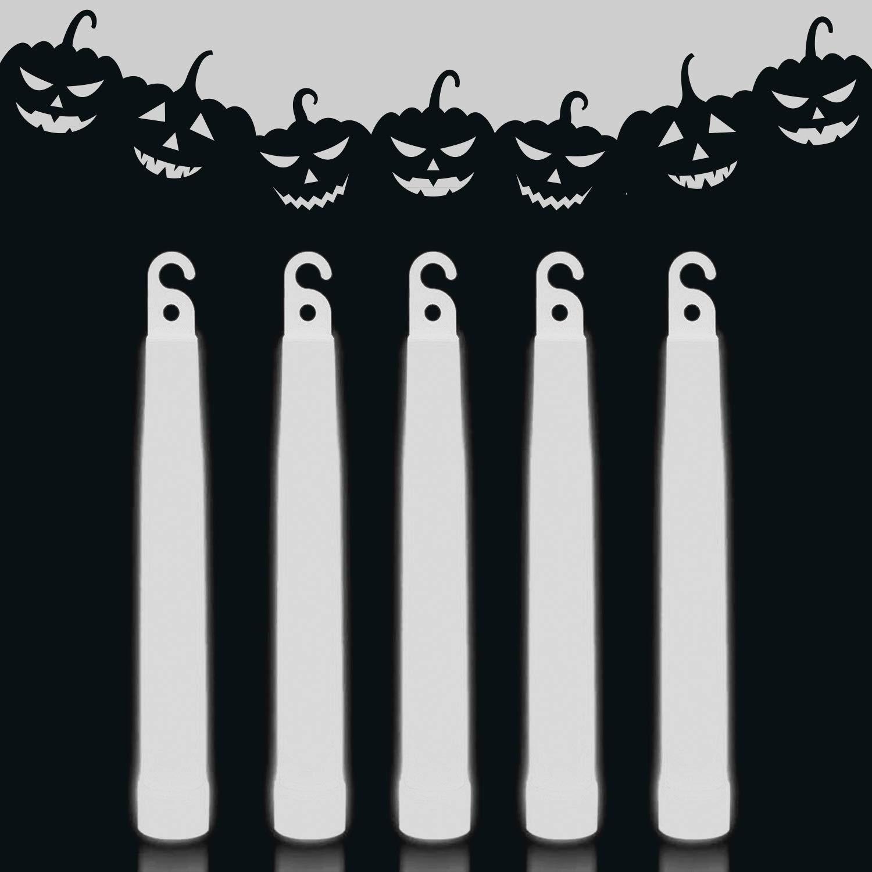 Lumistick 6 Inch Premium Glow Sticks | 15mm Thick Flat Bottom Illuminating Glowing Sticks | Waterproof & Non-Toxic Light Up Neon Sticks with Hook for Camping & Hiking (25 Glow Sticks, White)