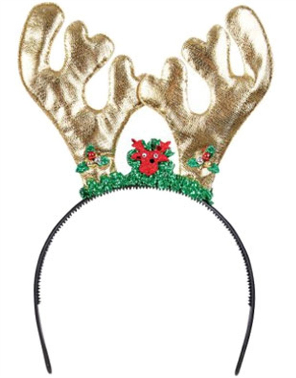Deluxe New Golden Christmas Costume Reindeer Antlers