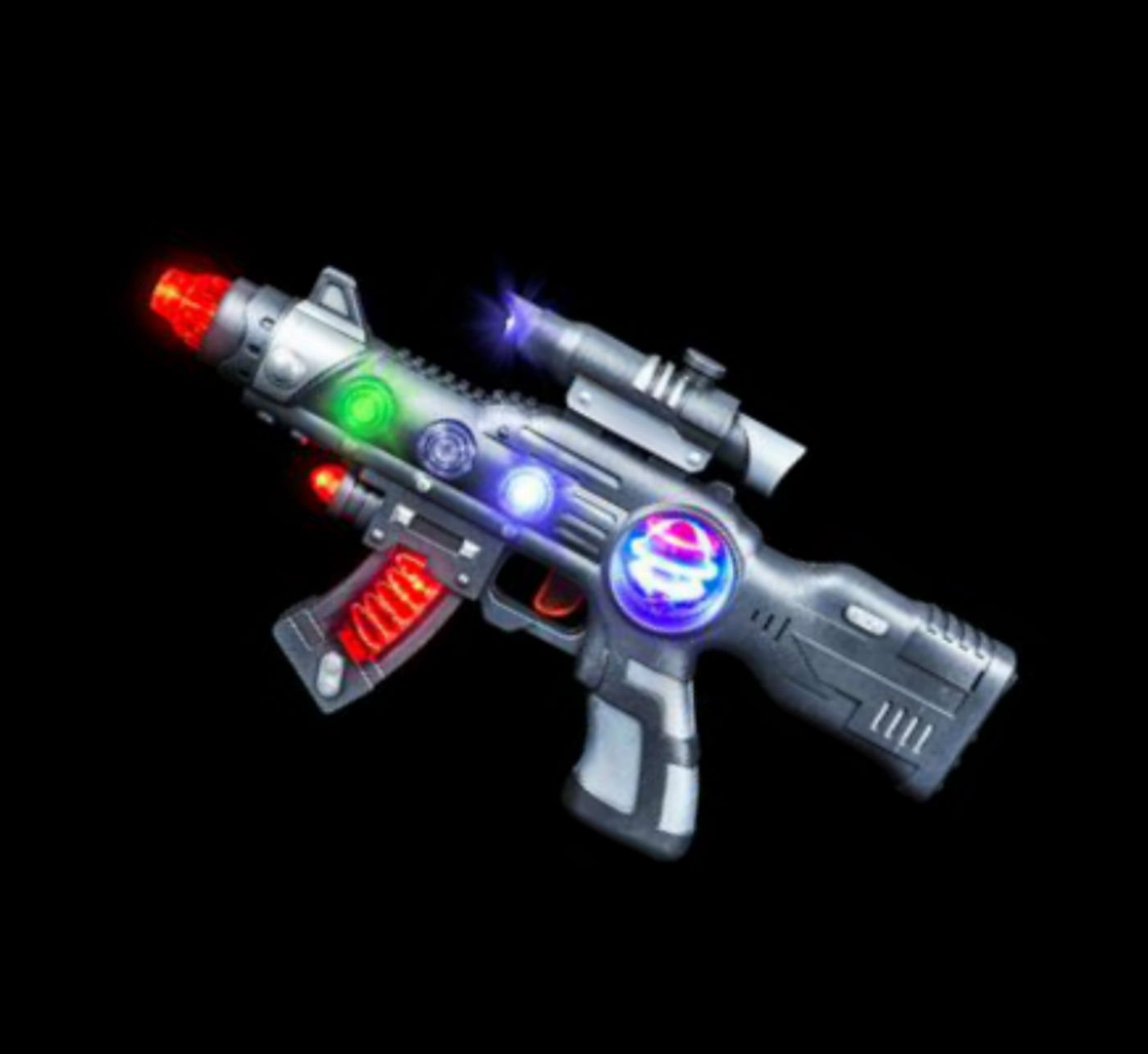 Super Light-Up Space Blaster Gun for Kids with Spinning Lights & Blasting Sounds - Play Kreative TM