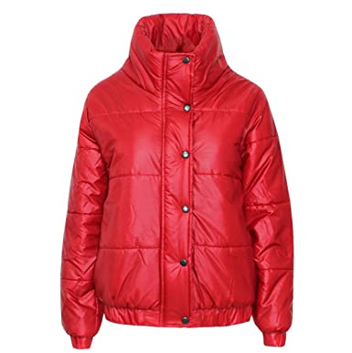 3d2b2bf7d48a AMBER APPAREL NEW LADIES PUFFER BUBBLE ZIP BUTTON WOMENS PADDED QUILTED  BOMBER JACKET COAT TOP -