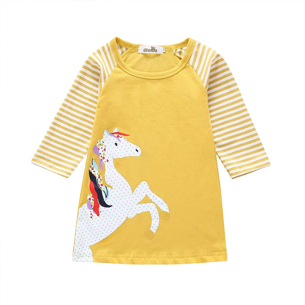 NUWFOR Toddler Baby Girl Kid Cartoon Clothes Horse Stripe Print Princess Party Dress(Yellow,12-18 Months)