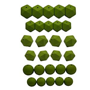 50pcs DIY Silicone Pearl Beads Set 14/17mm Hexagon Icosahedron 12/15mm Round Beads Mom Care Necklace Making (Green Bean)