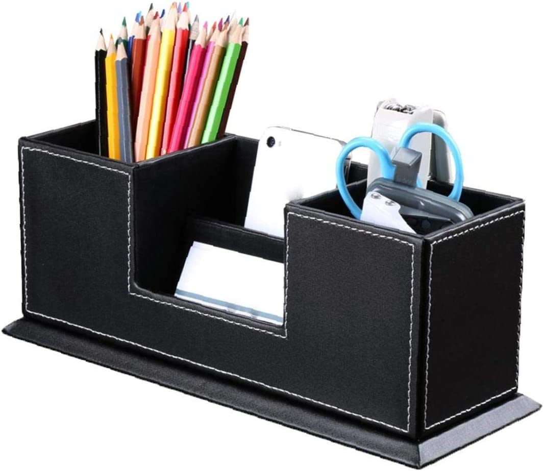 Titolare 1pc Ufficio penna con pelle multifunzione portapenne Doppia desktop di storage Organizzare Attrezzature da ufficio cancelleria di immagazzinaggio contenitore nero