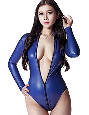5e55b24aa1bc Amazon.com  LinvMe Women s Sexy Bodysuit Catsuit Long Sleeve ...