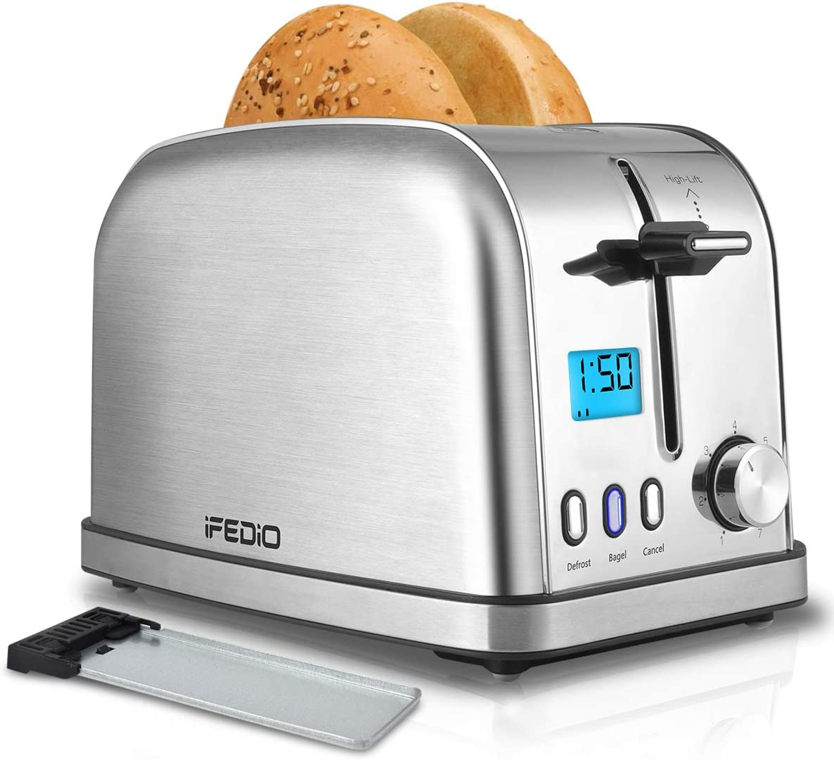 Toaster 2 Slice Toasters Best Rated Prime Toaster LCD Timer Display Compact Stainless Steel Toaster with 7 Bread Shade Settings, Bagel Defrost Cancel Function, Extra Wide Slots, Removable Crumb Tray 900W, Silver