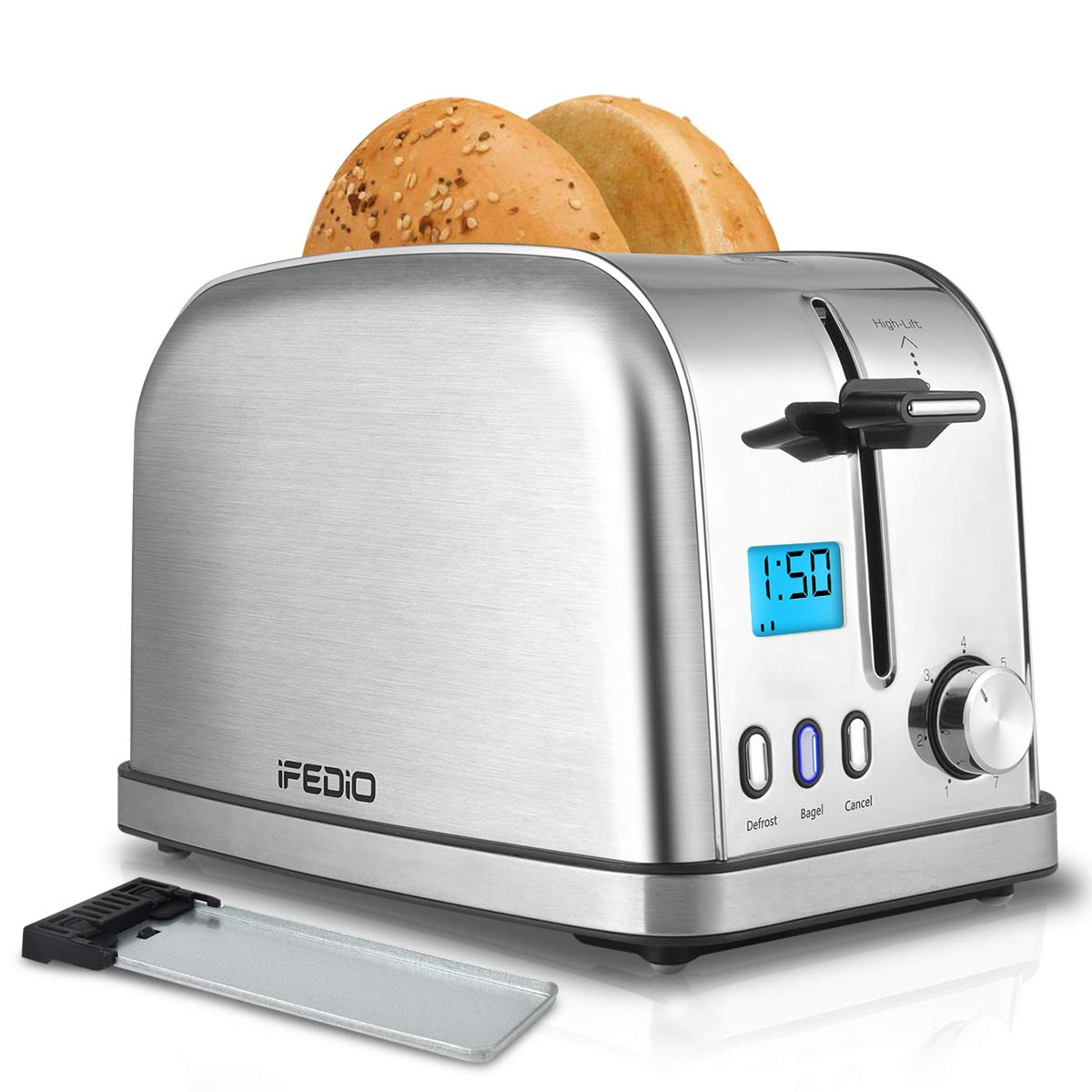 Toaster 2 Slice Toasters Best Rated Prime Toaster LCD Timer Display Compact Stainless Steel Toaster with 7 Bread Shade Settings, Bagel/Defrost/Cancel Function, Extra Wide Slots, Removable Crumb Tray (900W, Silver) by iFedio