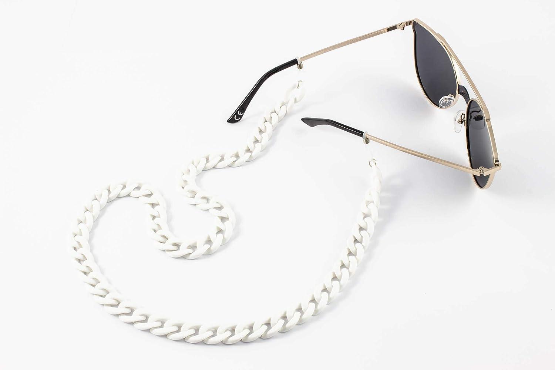 TBOC Cadena Gafas de Sol y Lectura Collar Elegante de Moda con Eslabones Anchos Cinta para Colgar Cuello Correa con Enganches Ajustables de Silicona para Patillas Colgante Mujer Pack: 2 Unidades