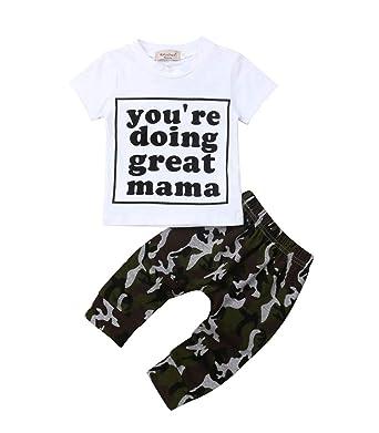 4a80bfbdc2e75 Newborn Baby Boys Girls Clothes Camo Love Heart Romper Top Long Pants Outfit  Set 3Pcs (