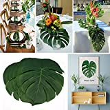ILAWS Tropical Palm Leaves - Faux Palm Leaves – Large Palm Leaves Decorations -48pcs (13.8 by 11.4inch) Artificial Tropical Palm Leaves for Party, Wedding; Hawaiian; Luau Decoration