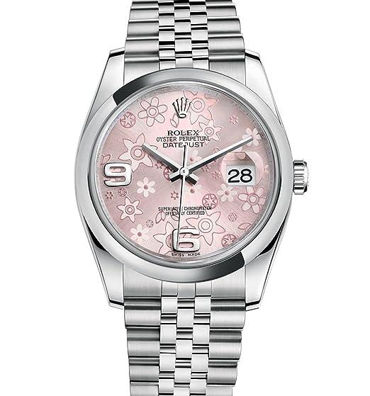 Rolex Datejust 36 Flores de color rosa de acero inoxidable esfera Jubileo 116200: Amazon.es: Relojes
