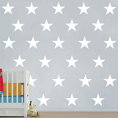 Melissalove 48pcs/Set of Large White Stars Vinyl Wall Decor Stickers DIY White Star Wall Decals Art for Kids,Nursery Room Decor Mural Wallpaper D399 (White): Arts, Crafts & Sewing