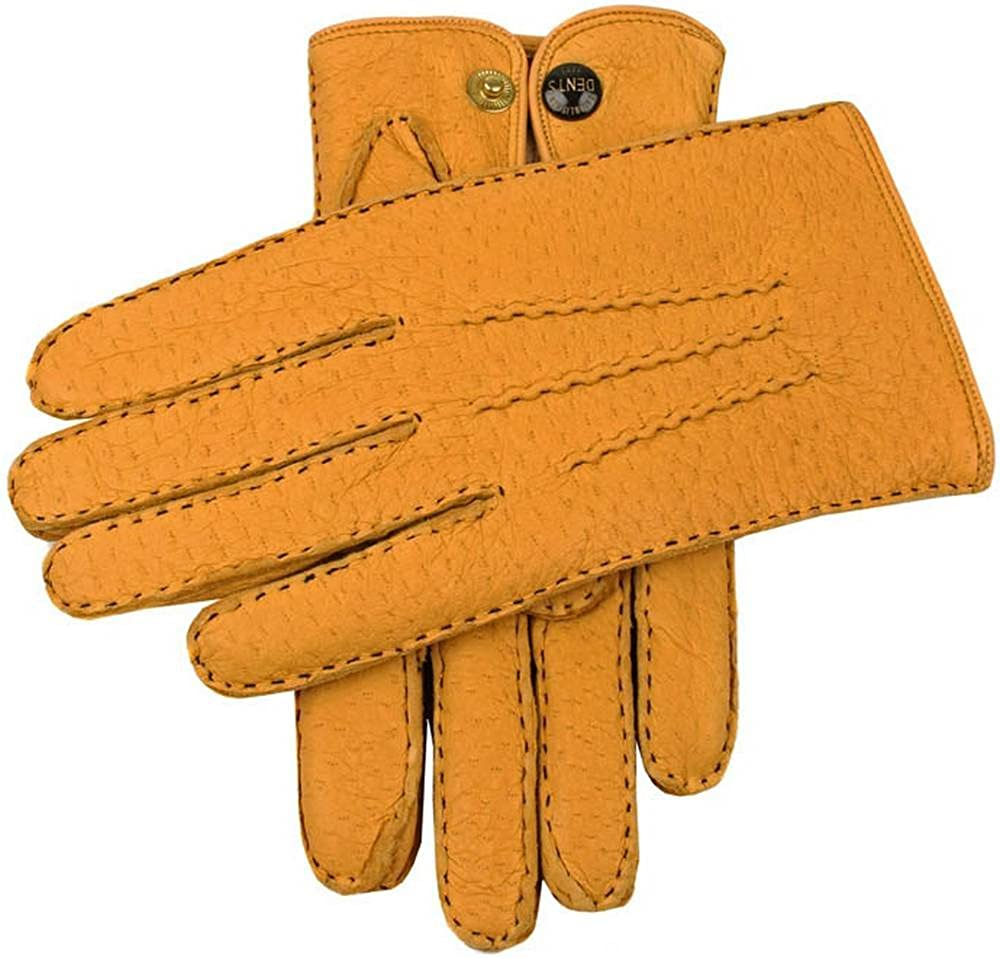 Dents Mens Trafalgar Cashmere Lined Peccary Leather Gloves Cork
