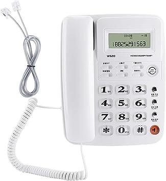 Teléfono fijo, teléfono fijo inalámbrico de sobremesa W520, teléfono fijo inalámbrico de oficina, llamada manos libres de soporte, identificador de llamadas, registros de números salientes(Blanco): Amazon.es: Electrónica