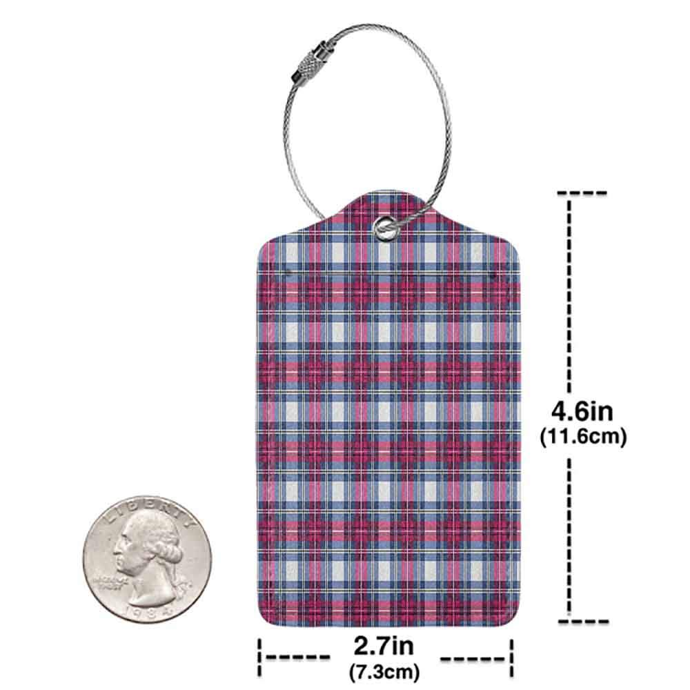 Flexible luggage tag Abstract Vibrant Tartan Pattern with Trendy Geometric Contrasts Picnic Style Design Fashion match Dark Blue Hot Pink W2.7 x L4.6