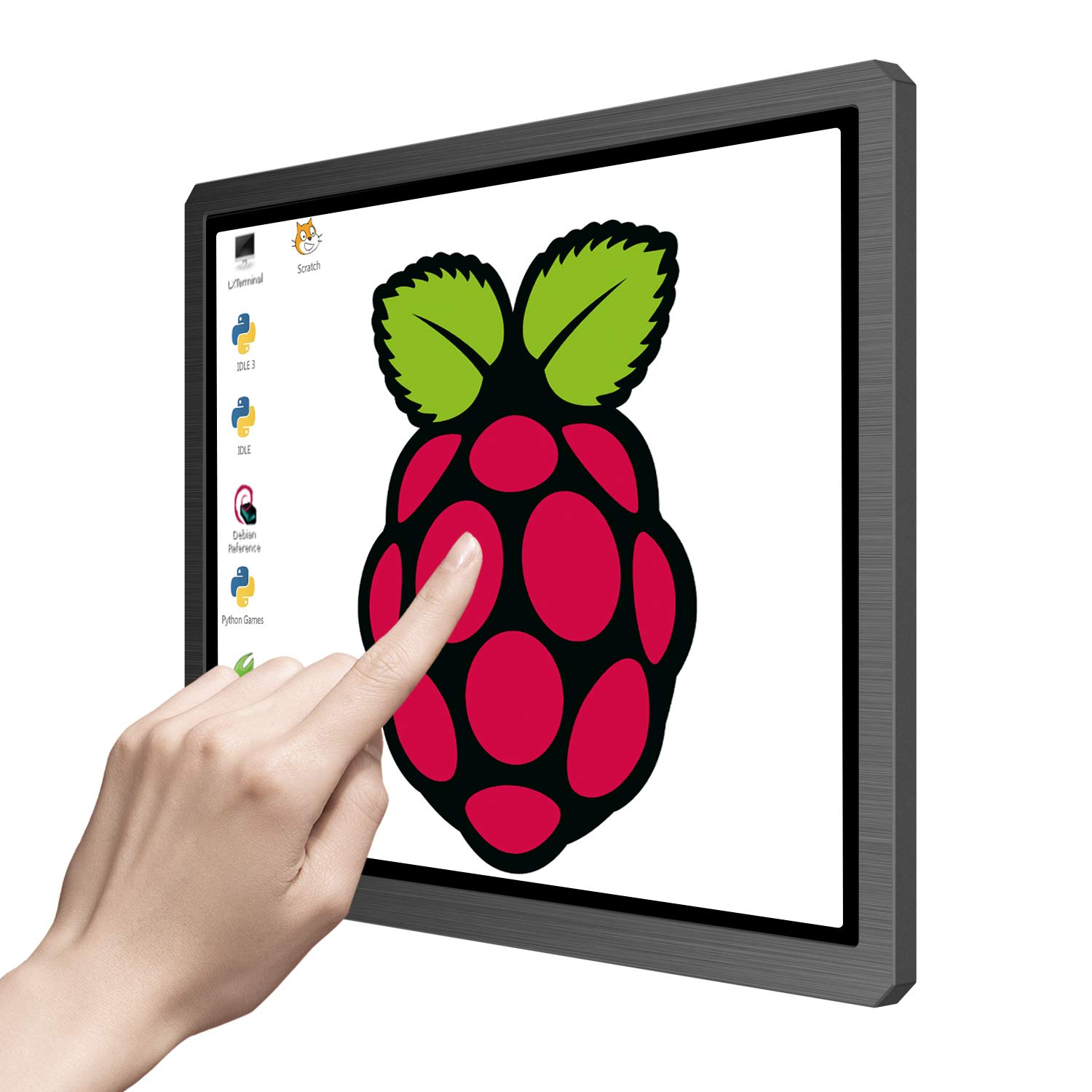 Touchscreen Portable Monitor, 12.3 Inch 1600x1200 4:3 IPS HDMI/VGA/DVI Input for Industrial Equipment,10 Point Touch Computer Display Speaker VESA Fit for Raspberry Pi TV Box PS4 Xbox Laptop Phone Mac