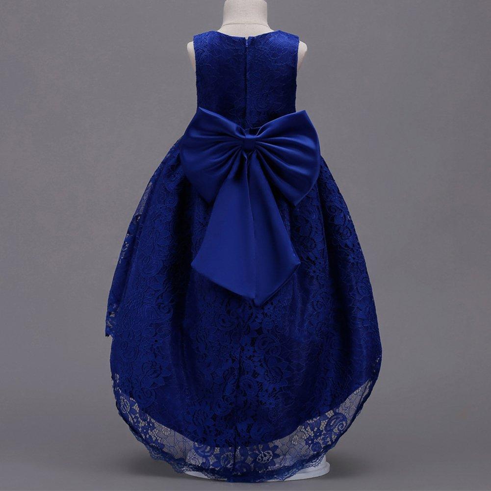 Amazon.com: OBEEII Flower Girl Kid Lace High Low Dress Bowknot Junior Bridesmaid Wedding First Communion Formal Event Princess: Clothing