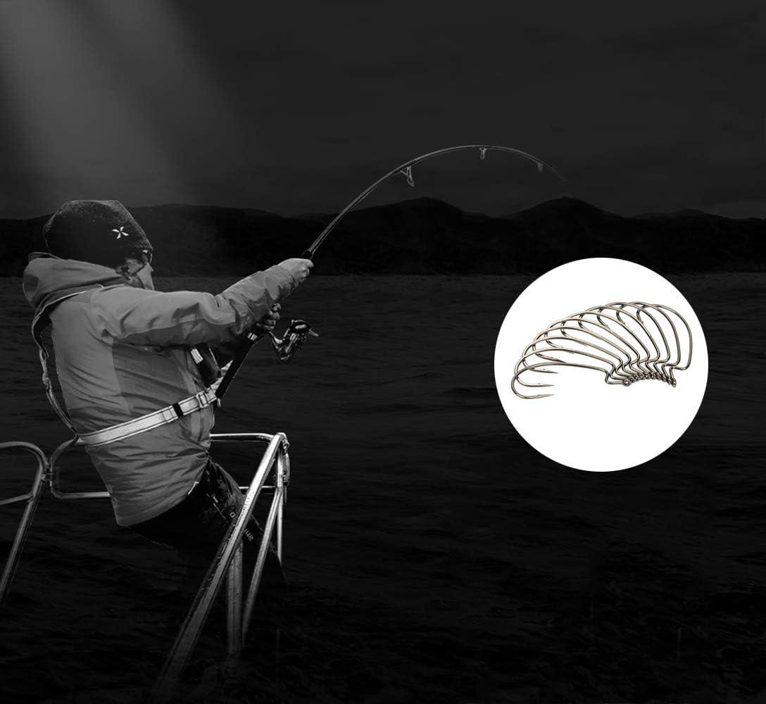 DXIA 50 Piezas Anzuelos de Pesca Pesca Negro Amplia Brecha Gusano Suave Cebos Gancho Ganchos de Pesca de Acero de Alto con Caja de Pl/ástico 5 Tama/ño para Agua Dulce de Agua Salada