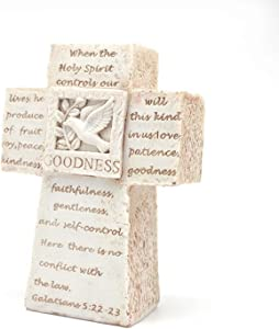 Christian Rustic Cross Decor - Desktop Cross Christian Cross Decorations Table Crosses for Home, Christian Desk Decor Small Standing Cross for Bedroom, Shelf - 5'' Beige Jesus Cross for Church