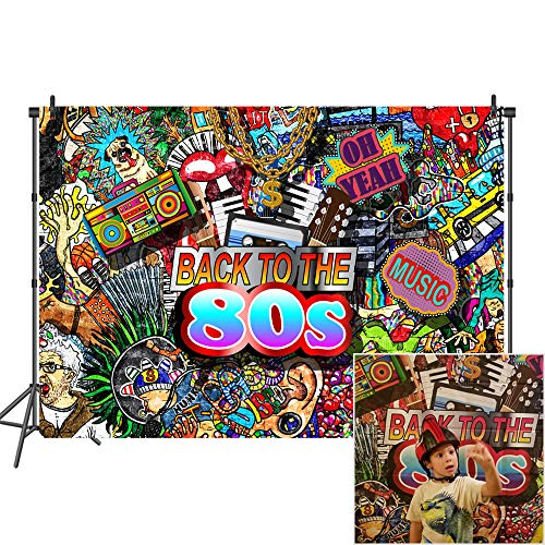 Mehofoto 7x5ft 80's Hip Hop Photography Backdrop Colorful Party Decoration Photo Background for 8oth Customized Professional Vinyl Photo Booth -