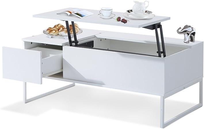 HOMCOM Mesa de Centro 110x60x45cm Mesita Te Elevable Muebles Salón Comedor Blanco Nuevo: Amazon.es: Hogar
